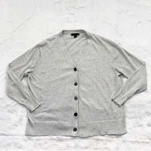 J. Crew 100% Cotton Light Gray Cardigan Sweater